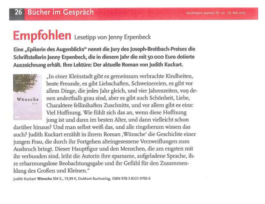 "Lesetipp! Erpenbeck empfiehlt ""Wünsche"" von Judith Kuckart"
